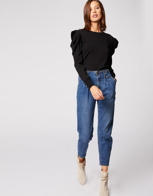 Pull manches longues bouffantes noir femme