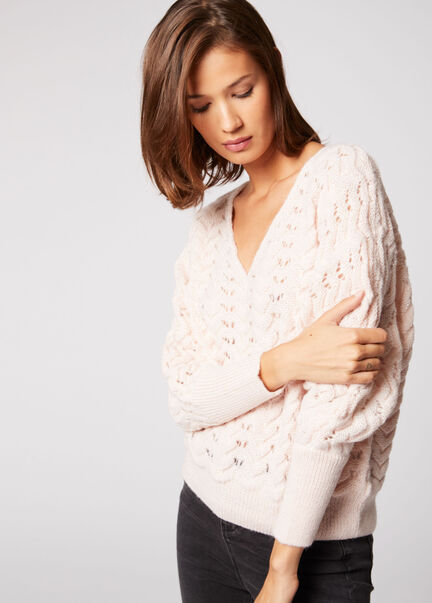 Pull manches longues details ajoures rose pale femme