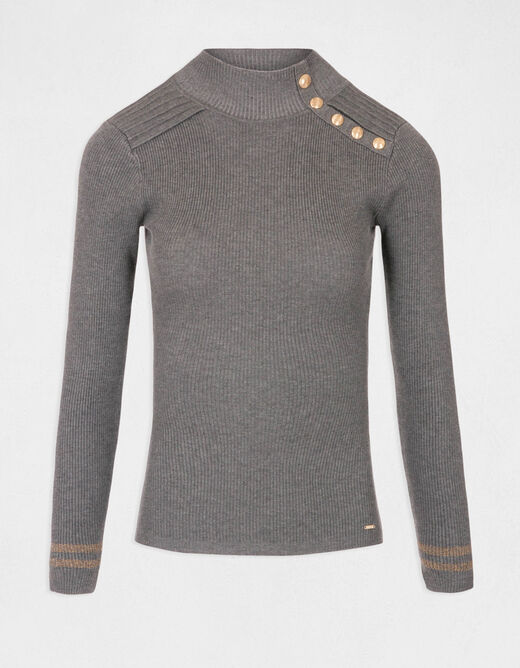 Pull manches longues avec boutons gris anthracite femme