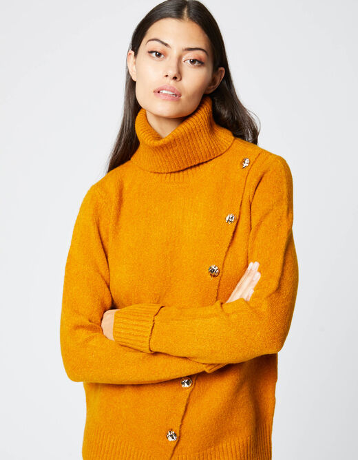Pull col roulé manches longues bouton or ocre femme