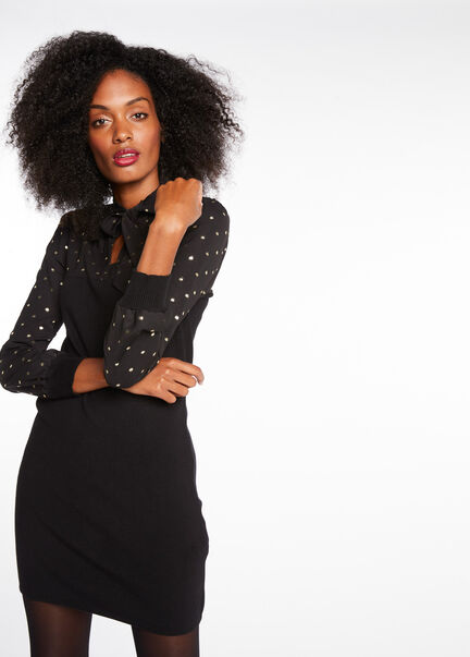 Robe pull droite col lavalliere noir femme