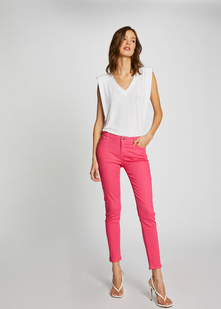 Jeans skinny taille basse fuchsia femme