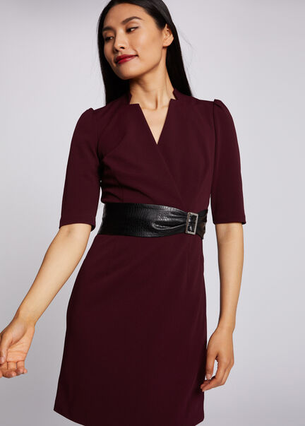 Robe droite taille avec boucle prune femme