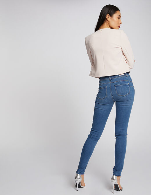 Jeans slim taille standard à poches jean bleached femme
