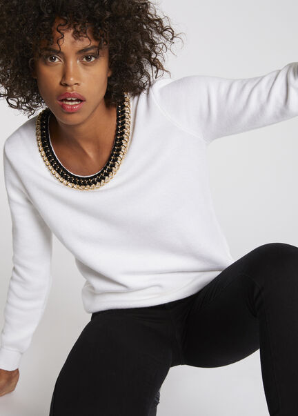 Pull manches longues col rond a chaines ecru femme