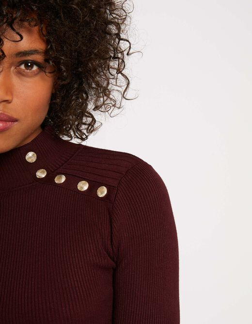 Pull manches longues 5 boutons rouge vin femme