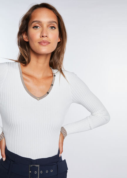 Pull manches longues detail boutons ecru femme