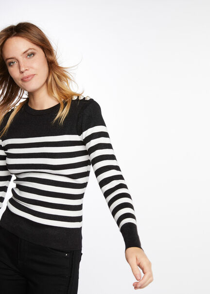 Pull manches longues mariniere boutons noir femme
