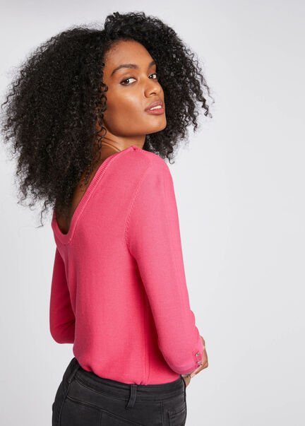Pull manches 34 avec dos ouvert rose femme