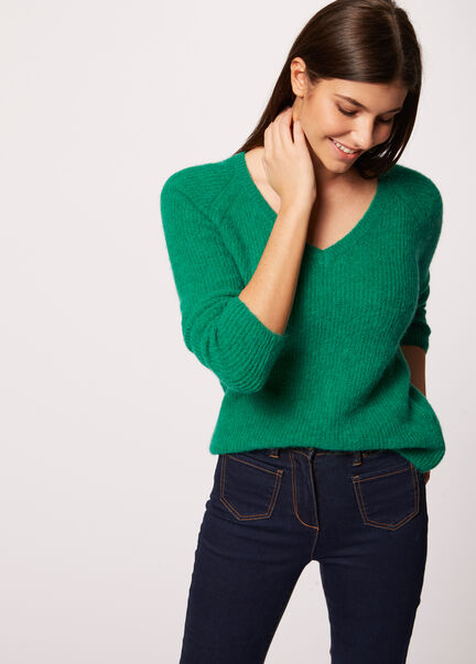 Pull manches longues maille duveteuse vert femme