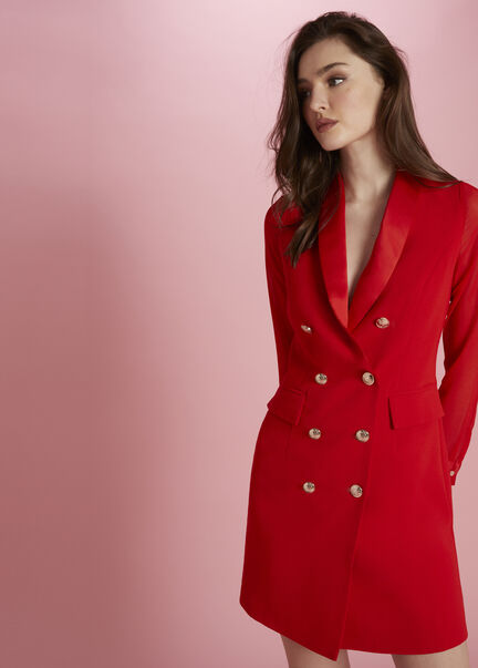 Robe portefeuille boutonnee col a revers rouge femme