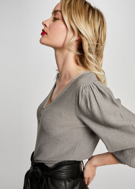 Pull manches 34 bouffantes gris clair femme
