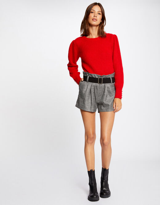 Pull manches longues avec boutons rouge femme