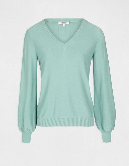 Pull manches longues dos avec boutons vert femme