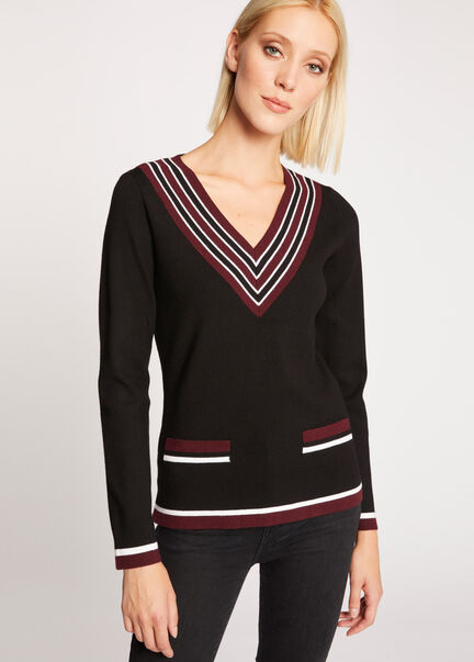 Pull manches longues bande contrastante rouge vin femme