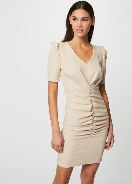 Robe ajustee froncee a manches courtes beige femme