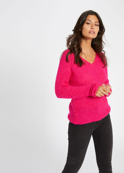 Pull manches longues maille duveteuse rose femme