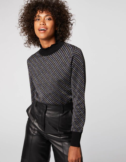 Pull manches longues à rayures multico femme
