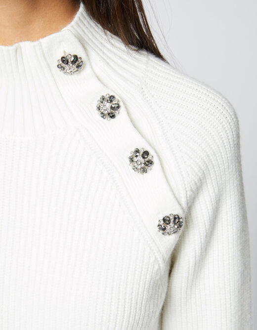 Pull manches longues boutons strass ecru femme