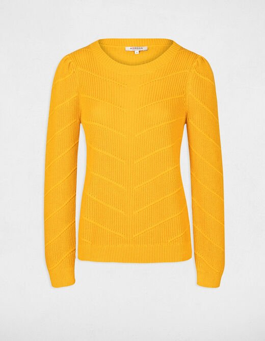 Pull manches longues avec col rond ocre femme
