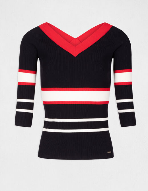 Pull manches 3/4 bandes contrastantes marine femme