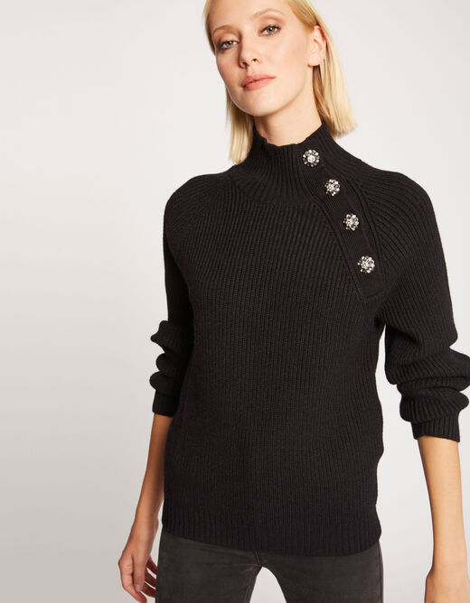 Pull manches longues boutons strass noir femme