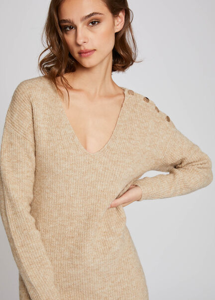 Pull manches longues epaule boutonnee beige femme
