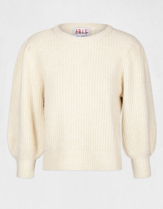 Pull manches longues bouffantes beige femme
