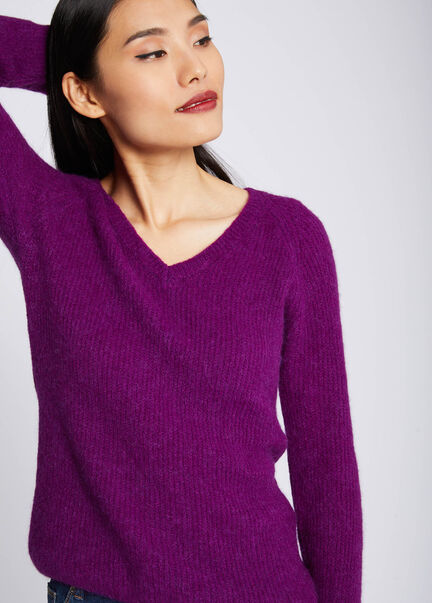 Pull manches longues maille duveteuse violet femme