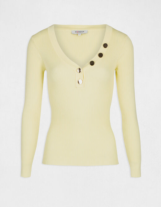 Pull manches longues boutons jaune femme