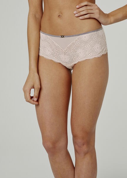 Shorty string dentelle et tulle Rebecca rose pale femme