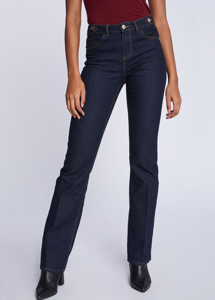 Jeans bootcut taille haute boutons jean brut femme