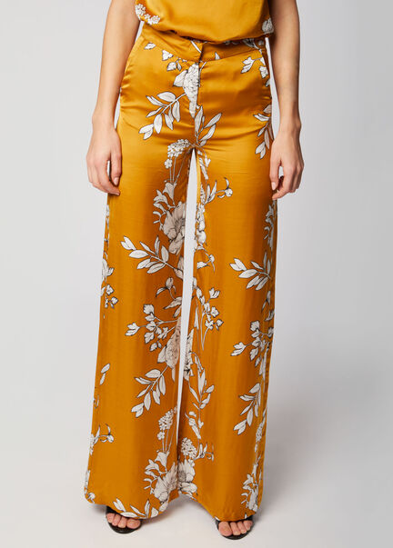 Pantalon long et ample a motif floral moutarde femme