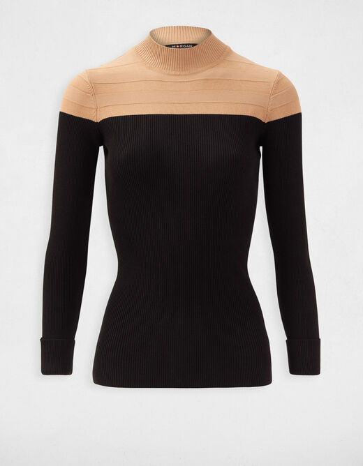 Pull manches longues col montant camel femme
