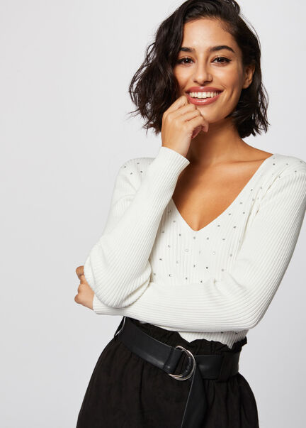 Pull manches longues details studs ecru femme