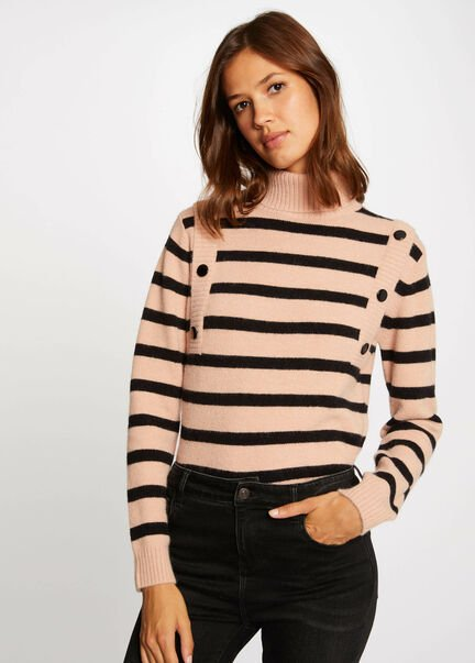 Pull manches longues a rayures taupe femme