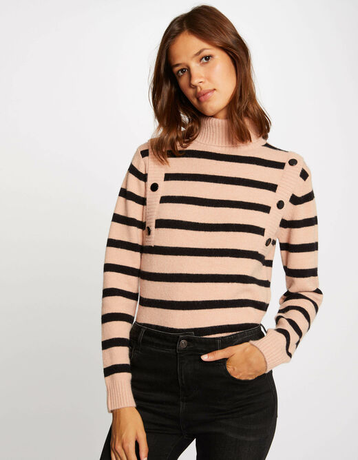 Pull manches longues à rayures taupe femme