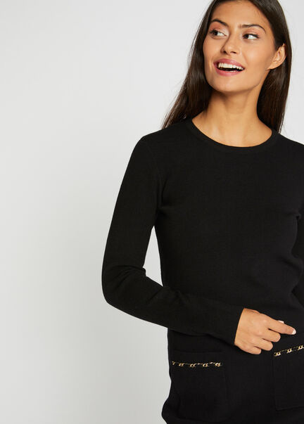 Robe pull ajustee poches a chaines noir femme