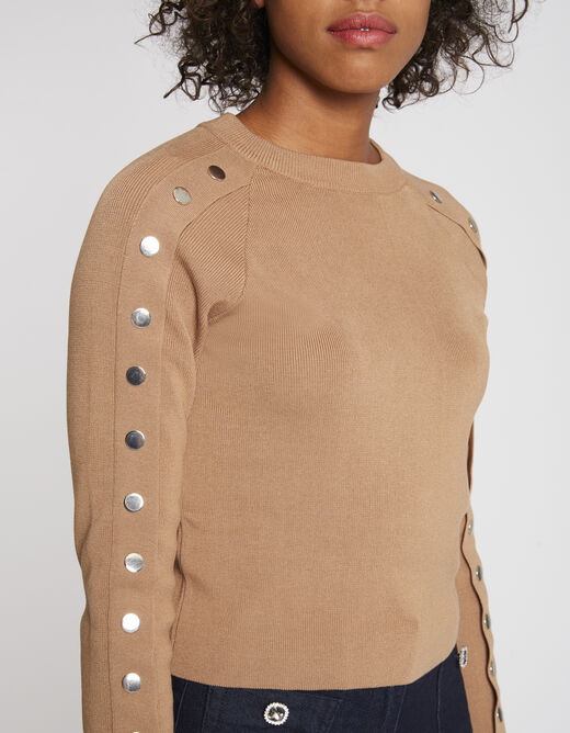 Pull manches longues à boutons-pression camel femme