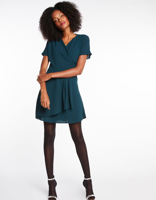 Robe patineuse manches courtes vert fonce femme