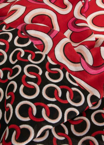 Foulard imprime chaine rouge femme