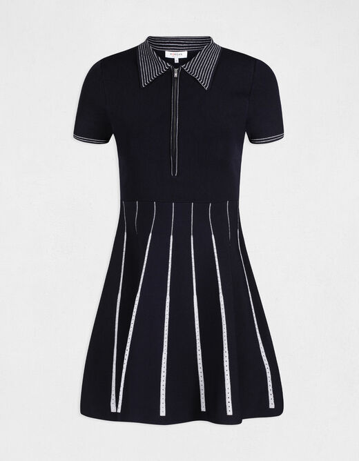 Robe corolle manches 3/4 à col polo marine femme
