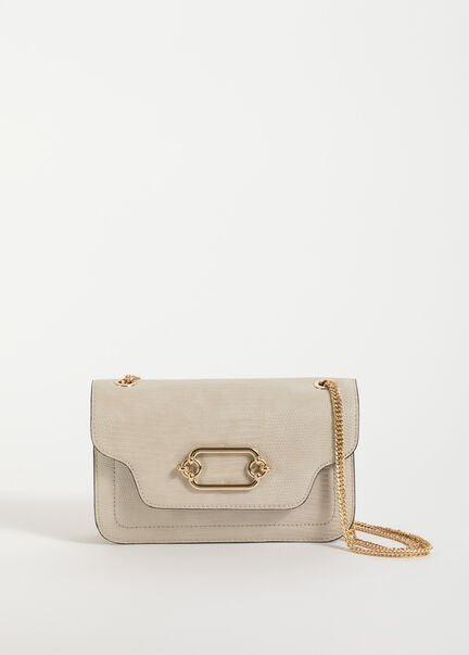 Sac rectangulaire a bandouliere chaine ecru femme
