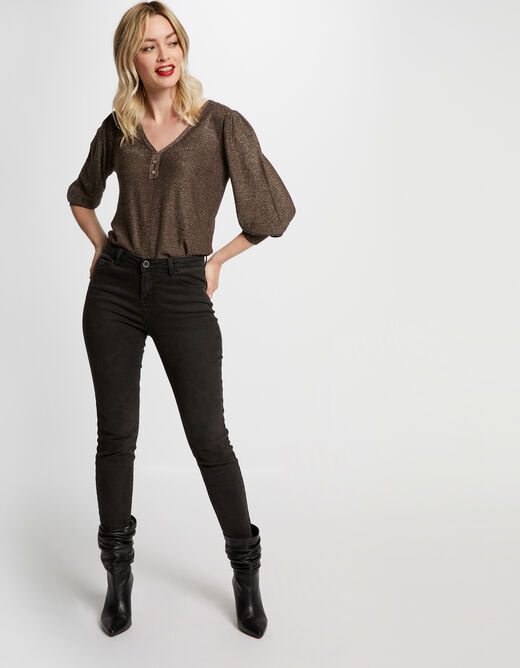 Pull manches 3/4 bouffantes choco femme