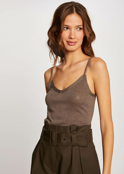 Pull debardeur a ornements metalliques taupe femme