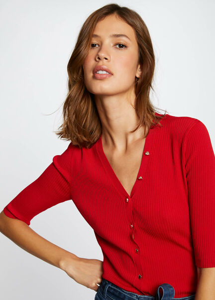 Pull manches courtes boutonne rouge femme