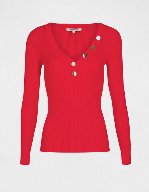 Pull manches longues boutons maille fine rouge femme