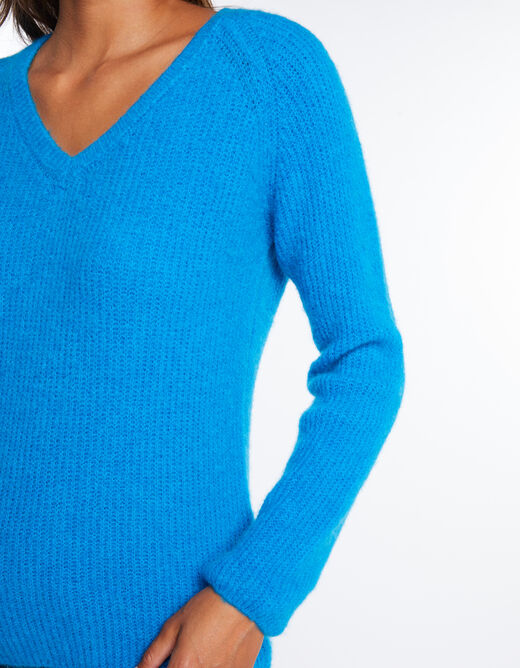 Pull manches longues maille duveteuse turquoise femme