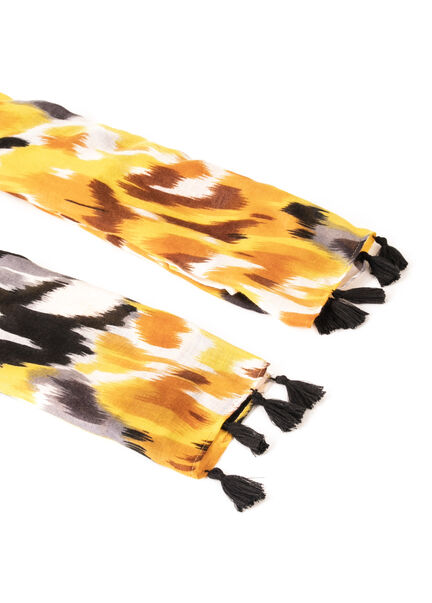 Foulard a imprime abstrait moutarde femme