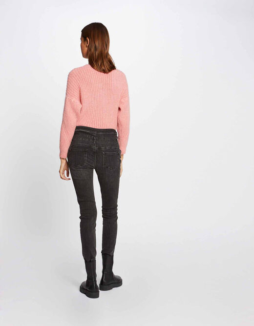 Jeans skinny taille haute avec boutons gris anthracite femme